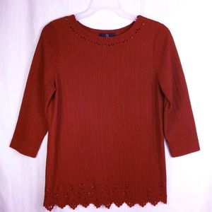 10 Carole Little Red 3/4 Sleeve Blouse